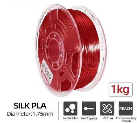 Silk PLA Filament Ø 1,75 mm - Rot- 1,00 kg
