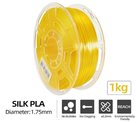 Silk PLA Filament Ø 1,75 mm - Gelb- 1,00 kg